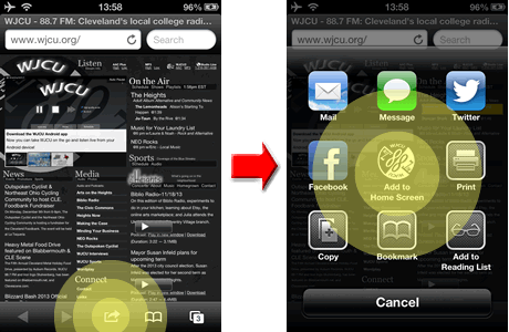 Diagram illustrating how to add WJCU to the iOS 6 home screen