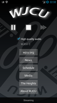 A screenshot of WJCU for Android