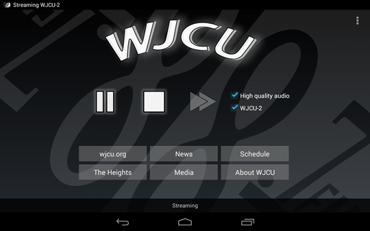 A screenshot of WJCU for Android running on a 7-inch tablet in landscape orientation