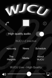A screenshot of WJCU for iOS running on iOS 7 with a 3.5 inch screen